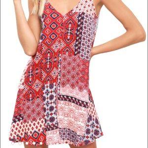Lulu's Perfect Sunday Red Print Swing Dress Size:S